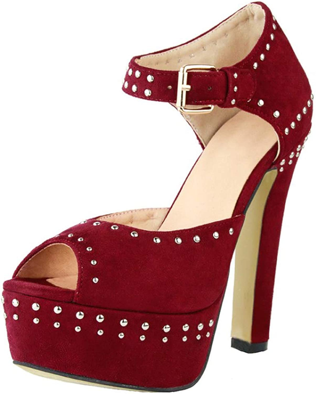 CASSOCK Women's High Heel Sandals Rivets Peep-Toe shoes Simple Dailywear Office Sandals Red