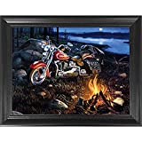 Harley Davidson Motorcycle 3D Poster Wall Art Decor Framed Print | 14.5x18.5 | Lenticular Posters & Pictures | Memorabilia Gifts for Guys & Girls Bedroom | Biker Picture for Men | Bike Campfire Scene