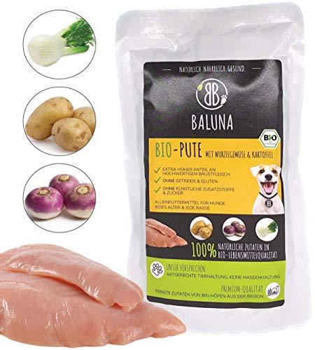 Baluna Bio Hundefutter | Von Bio-Höfen aus der Region | Hergestellt in DE | Hoher Fleischanteil (Bio-Pute, 15x150g)