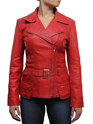Brandslock Mujeres Señoras Rojo Clásico de cuero Biker chaqueta con estilo Diseñador Look