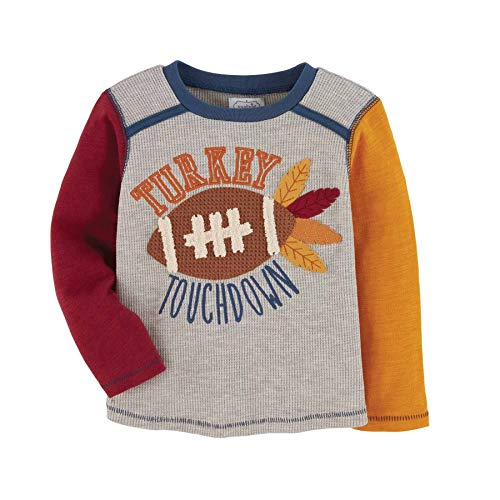 Mud Pie Baby Boys' Turkey Touchdown TEE, Gray, 24 Months-3T