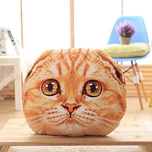 GAOKreative Simulation 3D Katze Kopf Kissen Stern Mann Katze Kissen Nach Hause Kissen Kann Ungewaschen Kissen 40cm Kissen Gelbe Katze 02