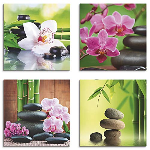 Artland Leinwandbilder auf Holz Wandbild Bild Set 4 teilig je 20x20 cm Quadratisch Wellness Zen Stein Grün Spa Bambus Zweige Zen Steine K3ED