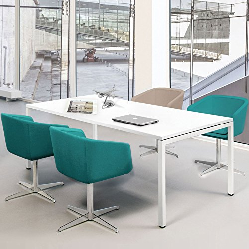 Weber Büroleben GmbH Profi Besprechungstisch 160x80cm NOVA U 4-6 Pers. Konferenztisch Meetingtisch, Gestellfarbe:Weiß