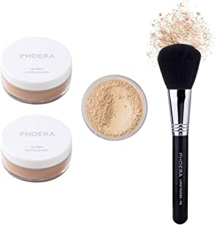 2 PCS Phoera Loose Setting Powder, Mineral Loose Face Powder Smooth Lightweight Long Lasting Finishing Powder Foundation with 2 Makeup Powder Puff and Phoera Face Brush(02#Cool Beige)