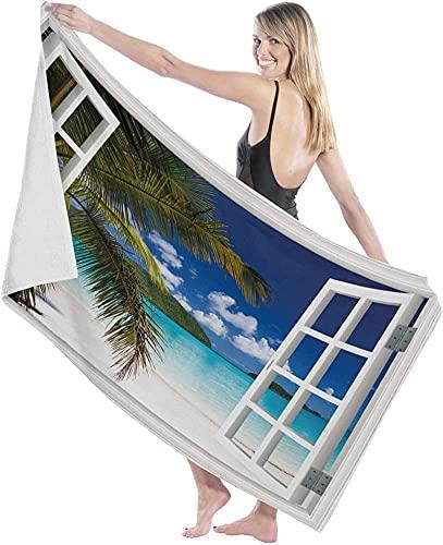 Toallas de baño, Palmeras Toalla de baño Ducha Grande para Nadar Manta para Adultos Tela Ultra Suave para Deportes en Bote Ocean Beach