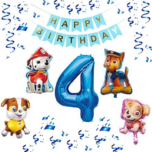 Paw Patrol XXL Folienballon Set Happy Birthday Banner + Zahl 1 2 3 4 5 6 7 8 9 Luftballon Ballon Hund Kindergeburtstag Deko Dekoration Geburtstag Party Marshall Skye Rubble Chase (Zahl 4)