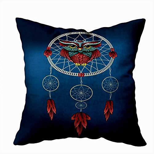 Funda de almohada para el hogar, 50 x 50 cm, diseño de búho en atrapasueños, decoración de tatuaje, fundas de almohada con cremallera para sofá cama
