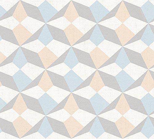 A.S. Création Vliestapete Scandinavian Style Ökotapete Tapete grafisch skandinavisches Design 10,05 m x 0,53 m beige blau metallic Made in Germany 341332 34133-2