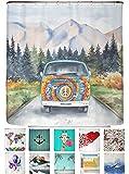 arteneur® - Hippie Bus - Anti-Schimmel Duschvorhang 180x200 mit Öko-Tex Standard 100 - Beschwerter Saum, Blickdicht, Wasserdicht, Waschbar, 12 Ringe und E-Book