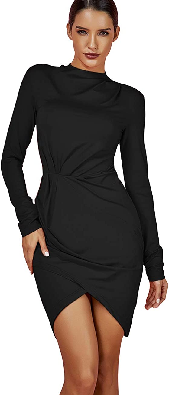 UONBOX Women's Long Sleeve Ruched Smoothy Night Club Party Mini Bodycon Dress
