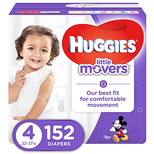 HUGGIES LITTLE MOVERS Active Baby Diapers, Size 4 (fits 22-37 lb.), 152 Ct, ECONOMY PLUS (Packaging...