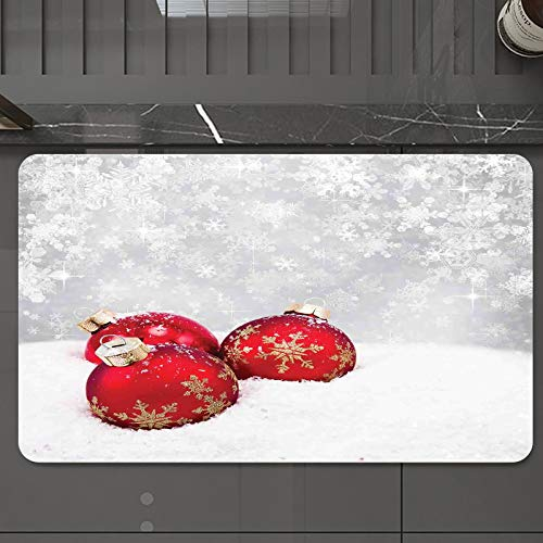 Alfombrilla de Baño Antideslizantes de 50X80 cm,Navidad, adornos de Navidad en la nieve con , Tapete para el Piso Lavable a Máquina con Microfibras Suaves Absorbentes de Agua para Bañera, Ducha y Baño