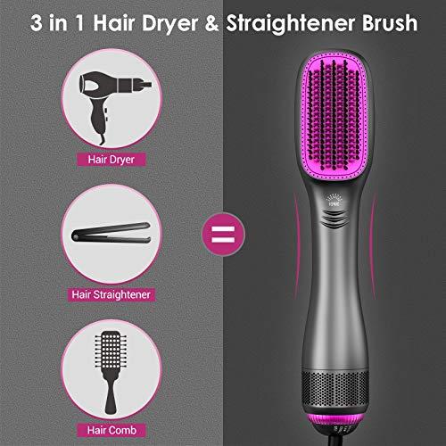 APOKE 3 in 1 Hair Dryer Brush & Straightener Brush, Professional 1200W Powerful Ceramic Tourmaline Ionic One-Step Hot Air Brush, 3 Heat/2 Speed Hair Dryer and Styler for All Hair Types