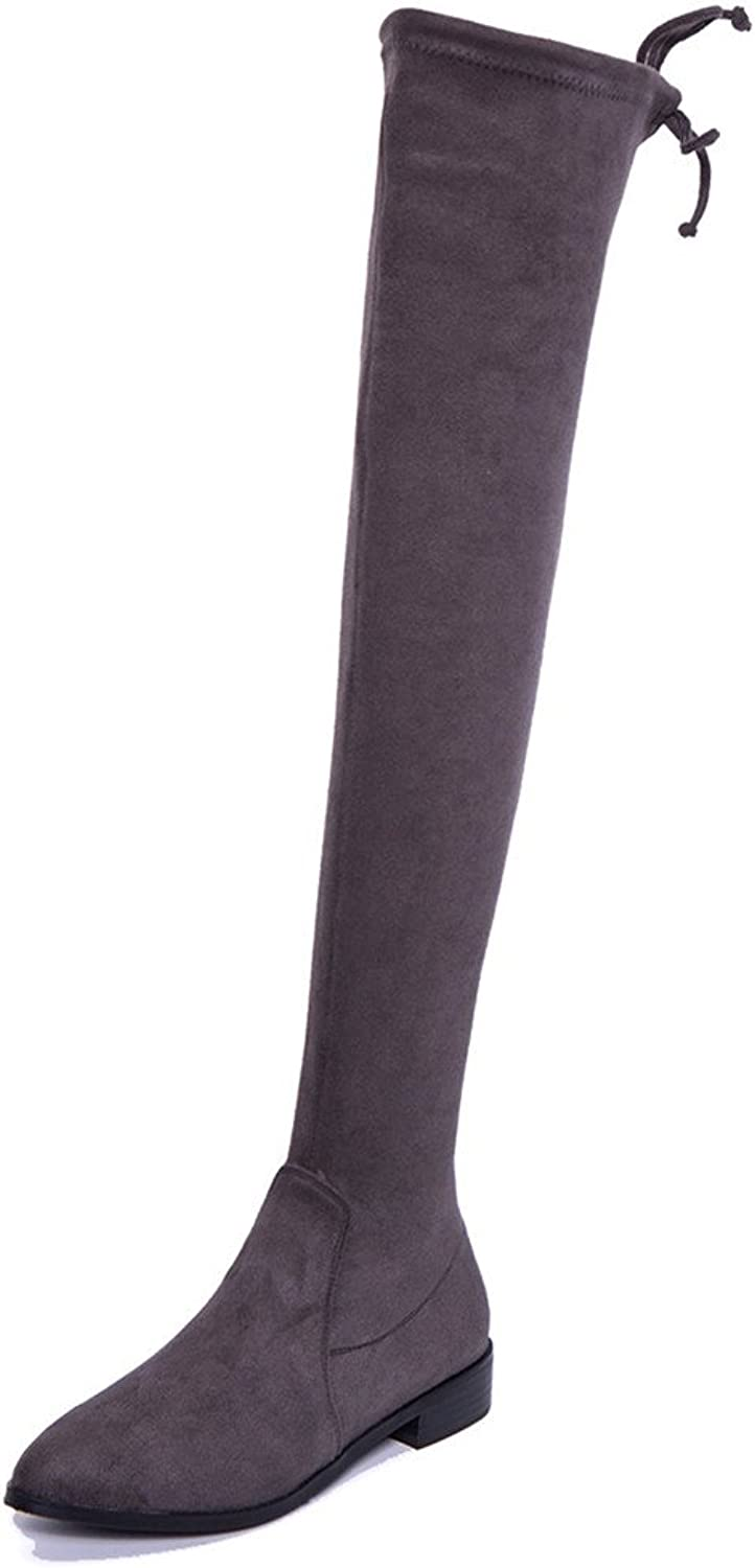 Nine Seven Suede Leather Women's Pointed Toe Flat Heel Handmade Bowknot Over The Knee Boots