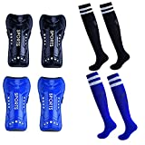 cGy Soccer Shin Guards, 2 Pair Youth Soccer Shin Pads, Breathable and Lightweight Child Calf Protective Gear Soccer Equipment for 3-15 Years Old Boys Girls Toddler Kids Teenagers