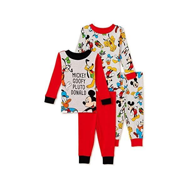 Mickey Mouse Pajamas 4-Piece Snug-Fit Goofy Pluto Donald PJ Set for Baby Boys