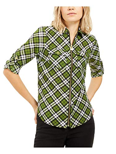 Michael Kors Womens Green Zippered Plaid Long Sleeve Collared Top Size XS
