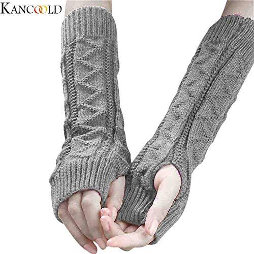BDQZ Fietshandschoenen Vrouwen Winter Pols Arm Warmer Gebreid Toetsenbord Lange Vingerloze Handschoenen Mitten Half Vinger Hand Protector