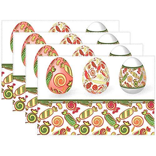 sunnee-shop placemats set van 6 Happy Easter Egg Candy placemats afwasbaar, hittebestendig, antislip
