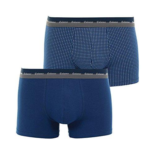 Eminence Lot de 2 Boxers en Jersey de Coton Stretch Bleu de Prusse et Bleu de Prusse a Motifs carres Blancs,XXL,Bleu