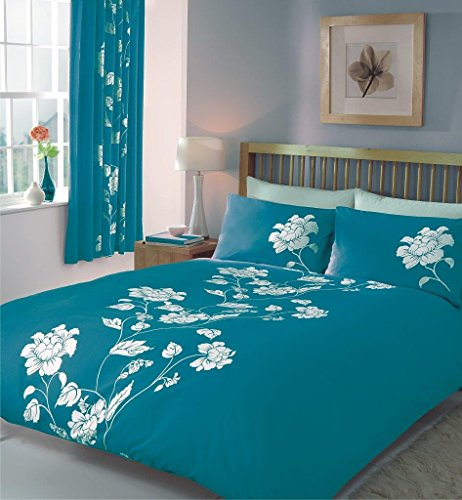 Gaveno Cavailia Luxury CHANTILLY Bed Set with Duvet Cover and Pillow Case, Polyester-Cotton, Teal, King
