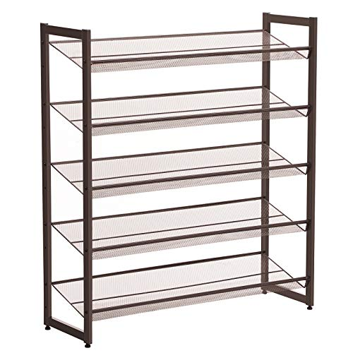SONGMICS 5-Tier Metal Shoe Rack Adjustable to Flat or Slant Shoe Organizer Holder Stand Shelves Stackable for Entryway Bedroom Bronze ULMR05A