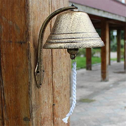 Guomipai Puerta Retro Timbre de Pastoral Hierro Fundido Ornamentos Adornos decoración de Pared Campanas de Hierro Campanas Decorativas (Color : Iron, Size : 30x18x30cm)