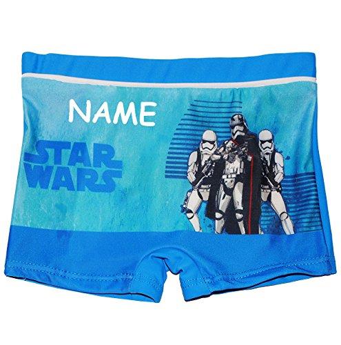 alles-meine.de GmbH Badehose / Badeshorts -  Star Wars  - incl. Name - Größe 4 bis 5 Jahre - Gr. 110 bis 116 - für Jungen Kinder Badepants - Boxershorts Shorts mit Bein - Pants..