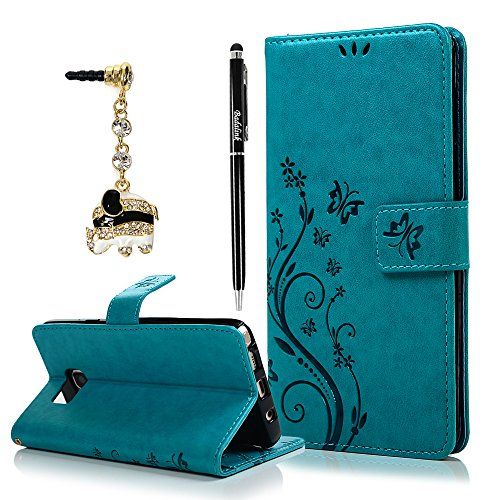 Badalink Note 5 Case, Samsung Galaxy Note 5 Case Fashion Wallet Purse PU Leather Embossed Flowers Butterfly [Card Holders] Flip Cover with Hand Strap & 3D Cute Elephant Dust Plug & Stylus Pen - Blue