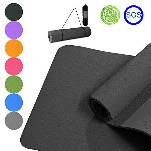 Good Times - Esterilla de yoga y gimnasia, antideslizante, TPE, hipoalergénica, hipoalergénica, con bolsa y correa, 183 x 61 x 0,8 cm (negro)