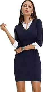 e82561a28b81 Floryday Women's Vintage Bodycon Office Work Business Pencil Dress Party  Turn Down Collar Midi Bodycon Dress