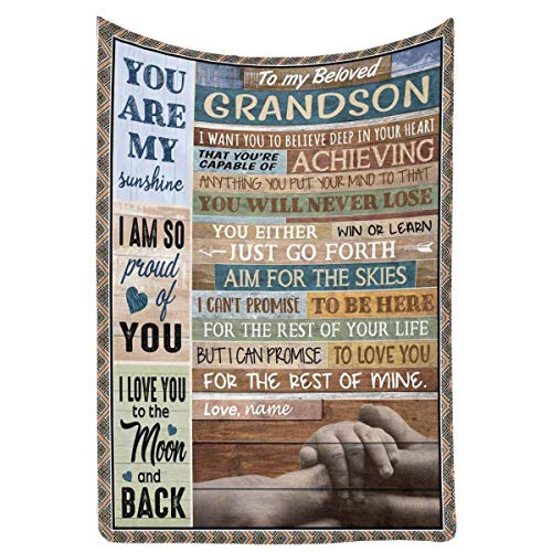 Custom Name Blanket Love Letter to My Beloved Grandson from Grandpa & Grandma, I am so Pround of You Personalized Gift Fleece Throw Blanket for Bed Couch 40 x 50 Inches