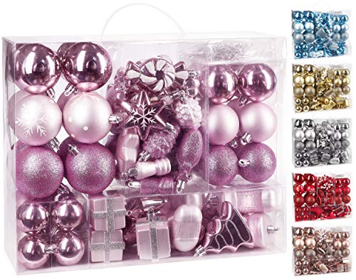BRUBAKER 77-Piece Christmas Tree Ornaments - Shatterproof - Light Pink / Silver