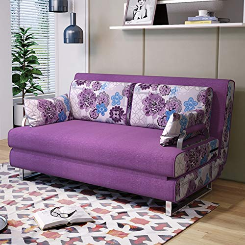 Simple Solid Wood Sofa Bed,Multifunctional Living Room Folding Double Sleeper Couch Sofa Convertible Bed,Breathable And Comfortable Fabric,Strong Load-Bearing,Washable,purple,1.8M