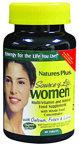NaturesPlus Source of Life Women - 60 Vegetarian Tablets - Whole Food Multivitamin and Mineral Supplement for Women, Calcium, Folate, Herbs and Lutein - Gluten Free - 30 Servings