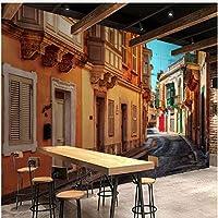 Xbwy 装飾壁画壁の壁紙ヨーロッパスタイルストリートシティ風景壁画レストランカフェリビングルーム-120X100Cm