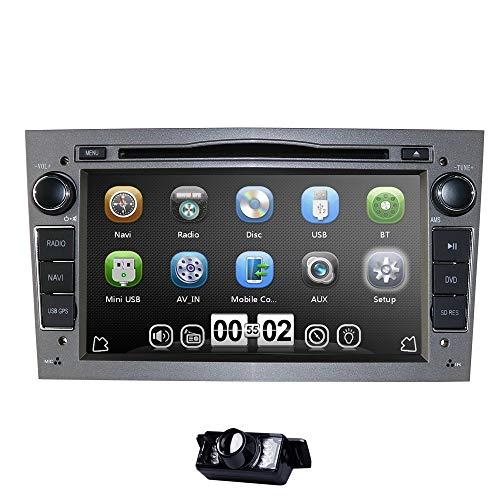 """hizpo 7""""Car Audio Estéreo para Vauxhall Corsa Vectra Astra Soporte Control del Volante Navegación GPS Reproductor de DVD Bluetooth Coche Radio SD USB Tarjeta Libre de 8GB (Gris)"""