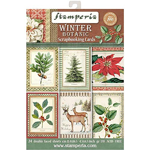 "Stamperia Cards Pad 4.5""X6.5"" 24/Pkg-Winter Botanic"
