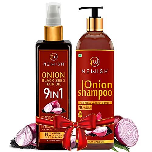 Newish® Onion Oil and Shampoo combo for hair fall, Dandruff & Faster Hair Growth 400ml