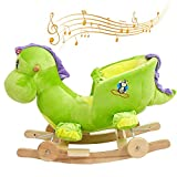 LUCKYERMORE Unicorn Rocking Horse with Fun Song Music/Seat Belt/Wheels Toys Baby 2-in-1 Wooden Plush Rocker Seat Ride-On Stroller with Seat Belt, Green Dinosaur