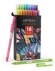 Arteza Super brokatowe długopisy żelowe, 18 różnych kolorów, końcówka 1,0 mm, kolorowe długopisy żelowe do pamiętników, bazgrołków, rysowania i wielu innych