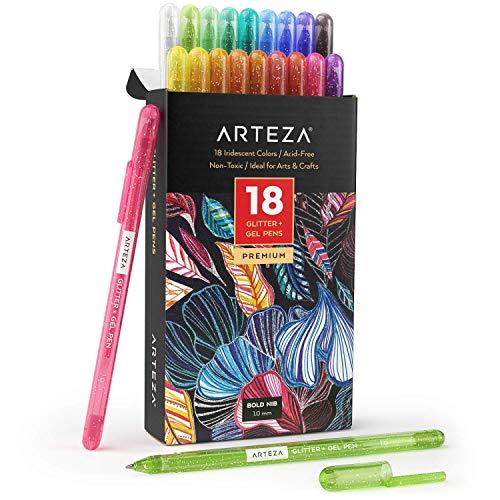 Arteza Bolígrafos de gel con brillos de purpurina, 18 colores surtidos, punta de 1 mm, bolis de gel de colores para escribir diarios, hacer garabatos, dibujar y mucho más
