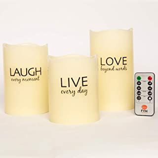 LIVE LAUGH LOVE Flameless Candles by FVM - Flickering LED Lights - Home Decor Relaxation and Stress Reduction Gifts - Living Room Kitchen and Bedroom Decoration Ideas - Safe for Kids and Pets
