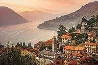 Tuanzi 大人のジグソーパズル1000個-イタリアは大人の家族と子供のための湖の山々モルトラージオコモ湖のパズルを収容します教育ゲームおもちゃジグソー1000