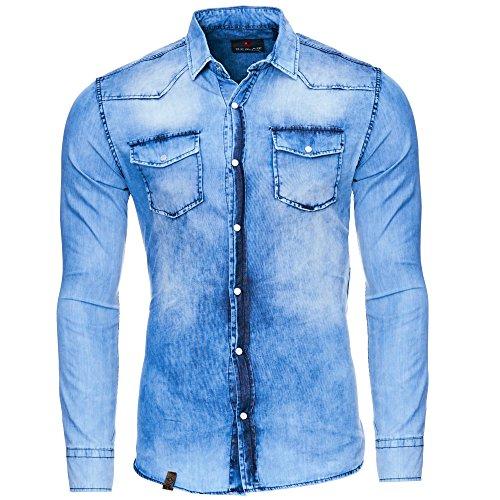 Reslad Jeanshemd Männer Slim Fit Vintage Herren Denim-Hemd Waschung Blau | Freizeithemd Blaue Denim Hemden RS-7109 Blau S