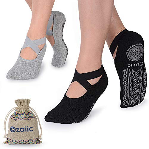 Ozaiic Yoga Socks for Women Non-Slip Grips & Straps, Ideal for Pilates, Pure Barre, Ballet, Dance, Barefoot Workout (Sports)