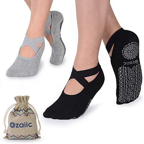 Ozaiic Yoga Socken rutschfeste für Damen für Pilates, Barre, Ballett, Tanz (EUR 35-41, 2 Paar - Schwarz und Grau)