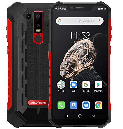 Ulefone Armor 6S Android 9.0 Móvil Anti Agua/antigolpes - Helio P70 Smartphone Resistente al Golpes, Octa-Core 6GB + 128GB, 6.2'' FHD+ Pantalla Notch, Carga inalámbrica, IP68 Impermeable - Rojo