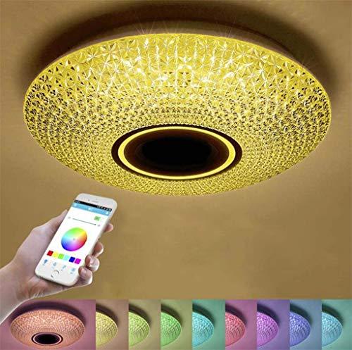 YUPIN LED plafondlamp Modern Simple Bedroom Plafondlamp, afstandsbediening Smartphone APP dimbaar, ingebouwde Bluetooth luidspreker muziek lamp, met RGB kleuraanpassing, slaapkamer plafond lichten